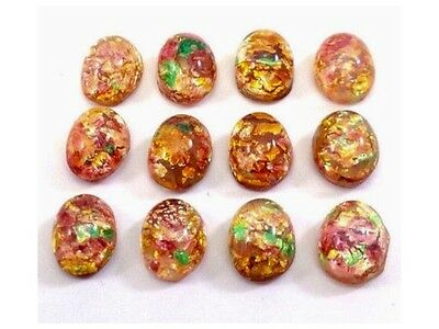 Qty 18 - Vintage 8x6mm Fire Opal Pink & Gold Glass Cabochons, Oval, Flat Back
