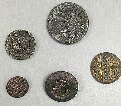 Antique Stamped Brass Bird Ship Tinted Cut Steel Picture Buttons Mixed Lot of 5