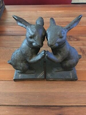 Pair Of Hand Painted Antique Cast-Iron Rabbit Bookends Black And Gold