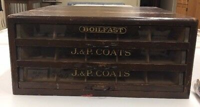 Antique J. & P. COATS Sewing Thread Spool Cotton Cabinet 3 Drawer Chest