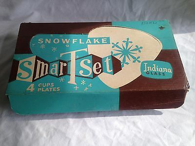 Vintage Indiana Clear Glass Snowflake Smart Set (In Original box) Plates Cups