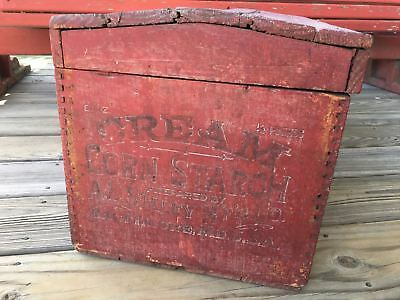 Antique Folk Art Red Cream Corn Advertising Wood Humpback Chest Hinged Box