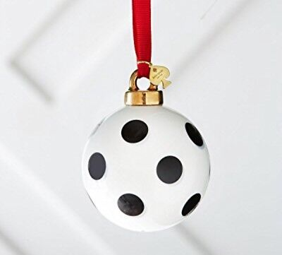 Kate Spade Lenox Black White Polka Dot Spots Porcelain Xmas Ornament NEW IN BOX