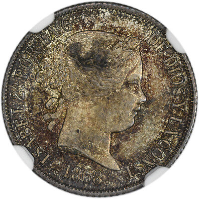 1868 Phillipines NGC UNC Details 10C - Obverse Damage