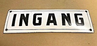 Antique French Enamel Street Sign, gate plaque street plate INGANG