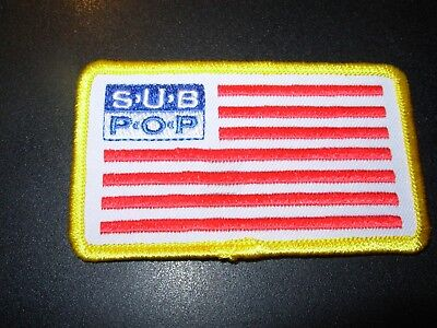 "SUB POP RECORDS Embroidered Patch USA FLAG SEATTLE LOGO 3.5"" pearl jam nirvana"