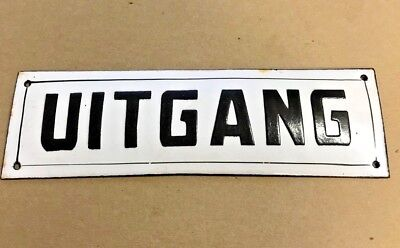 Antique French Enamel Street Sign, gate plaque street plate UITGANG