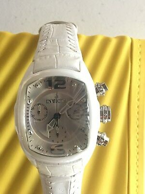 Invicta 0310 Lupah Revolution Swiss Movement White Leather Strap Watch