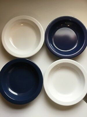 """4 Dallas Ware  Melamine 7.5"""" BOWLS 2 navy blue and 2 white"""