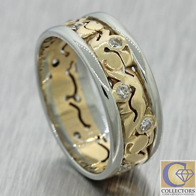 1930s Antique Art Deco 14k 18k White Yellow Gold Wide Diamond Band Ring A1