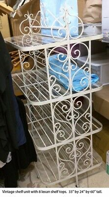 Vintage Wrought Iron Floor Shelf Unit Retail Home Display Shabby Chic Boutique