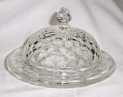 Vintage Cut Glass Crystal Round Butter/Cheese Dish & Lid Diamond Cut Pattern