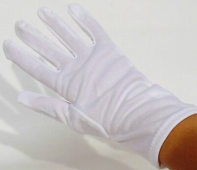 "10"" Long White Nylon Lint-Free Inspection Gloves Coin Jewellery Small/Medium lot"