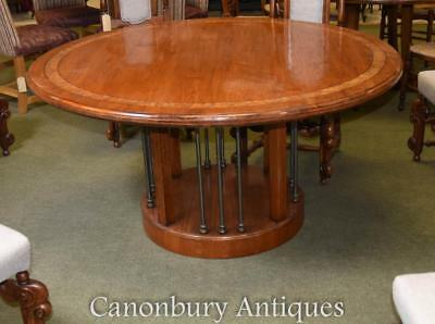 Round Oak Farmhouse Kitchen Dining Table Refectory
