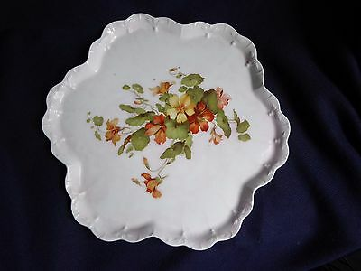 C.W.S. Longton Vintage Cake Tray Plate Hand Painted Flowers England c1911 27cm