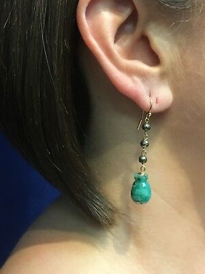 Genuine Colombian Emerald (19.5ct) & Pyrite Solid 14k Gold Dangle Earrings, New