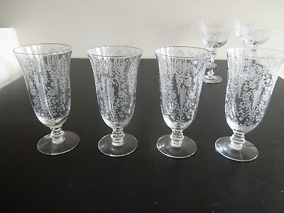4 Tiffin June Night Etched Crystal Iced Tea Glasses