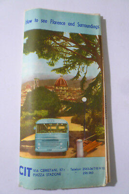 VINTAGE 1962 Florence Italy Tourist Map Brochure. Free shipping