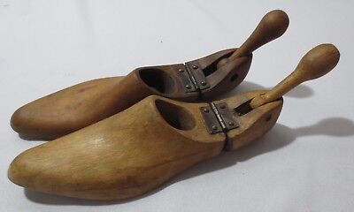 Vintage Pair Antique Mens Womens pointy toe Wooden Shoe Last Forms Hinged Design