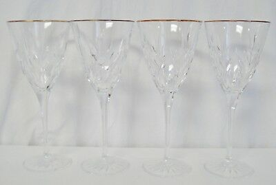 4 Cristal D'Arques Durand Cassandra Water Goblets Glasses Stem Set Leaves Gold