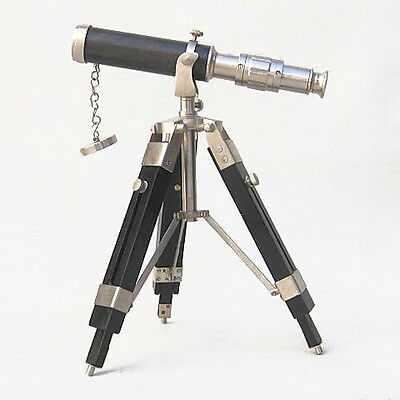 "Brass Table Top Telescope 9"" Pewter Finish w/ Wooden Tripod Nautical Decor New"