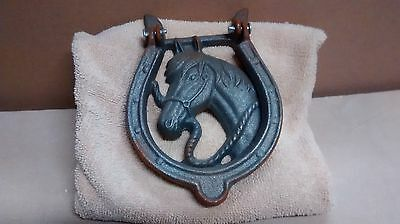 Cast Iron HORSE HEAD Door Knocker Western Cowboy Horseshoe