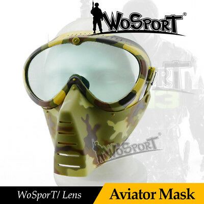 Tactical Full Face Anti-fog Len Safe Mask w/ Goggle for Airsoft Hunting Archery