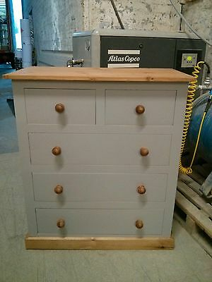 Painted Pine Shabby Chic Edwardian Range 3+2 Drawer Chest Earl Grey/ Old Antique