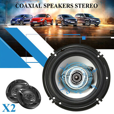 2X 6.5 inch Car Coaxial Speakers 4 Way 400W Stereo Super Bass Audio Cable Auto