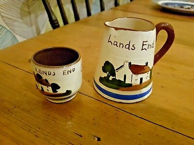 Vintage Torquay Ware  Lands End  Watocombe Good Morning Jug And Egg Cup
