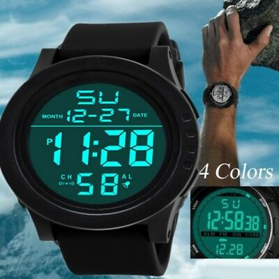 Fashion Men LED Digital Date Alarm Waterproof Sport Military Rubber Quartz Watch