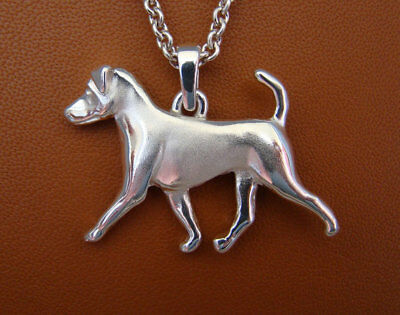 Large Sterling Silver Jack Russell Terrier Moving Study Pendant