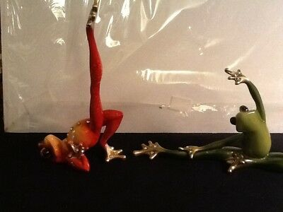 Covetable Set Of 2 Ballet Yoga Frogs Green And Orange Crystal Embellishment