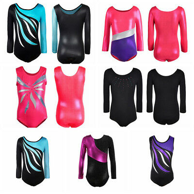 Kids Girls Shiny Rainbow Ballet Dance Bodysuit Long Sleeved Gymnastic Leotards