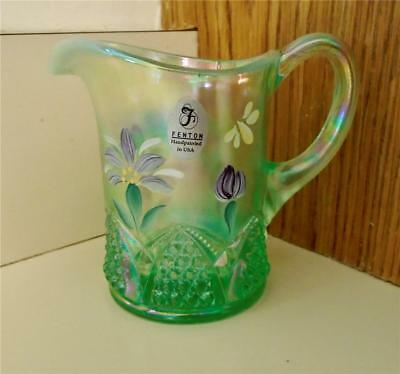 Fenton Green Opalescent Iridescent Small Hand Painted Flowers Creamer Pitcher