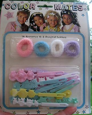 Vtg Nos 4 Ponytail Holders 18 Hair Barrettes Girls Color Mates In Package 1970's