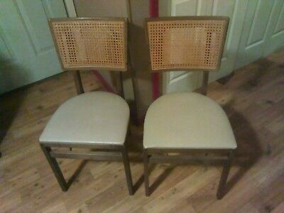 2 SET CANE BACK STAKMORE. Mid century FOLDING CHAIRS  PADDED SEAT TWO