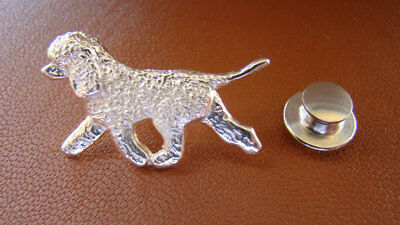Small Sterling Silver Irish Water Spaniel Moving Study Lapel Pin