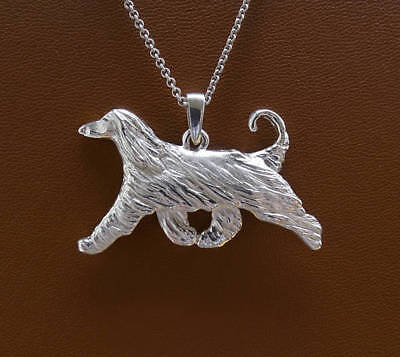 Large Sterling Silver Afghan Hound Moving Study Pendant