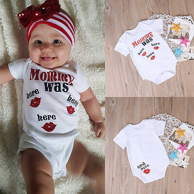 Newborn Kids Baby Mommy was Here Bodysuit One-piece Romper Sunsuit Clothes 0-24M