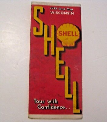 Vintage 1935 Shell Gas & Oil Advertising Wisconsin Road Map ~ L@@k ~