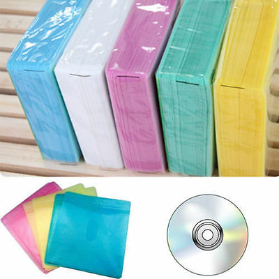 Hot Sale 100Pcs CD DVD Double Sided Cover Storage Case PP Bag Holder E EV