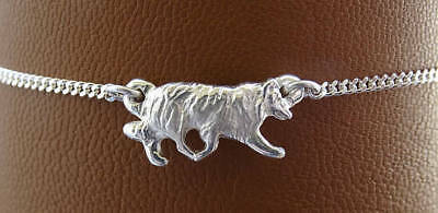 Small Sterling Silver Border Collie Herding Study Anklet
