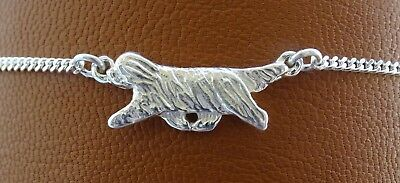 Small Sterling Silver Bearded Collie Moving Study Anklet