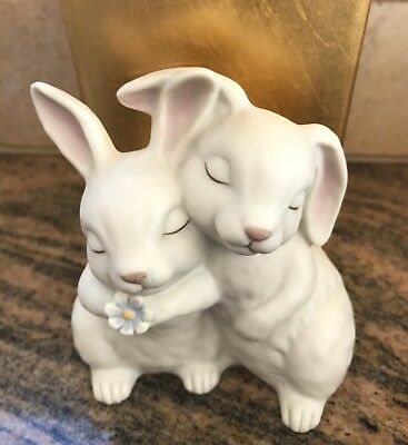"Vintage ""Homco"" 1990 ""He Loves Me"" Bunnies Hugging"