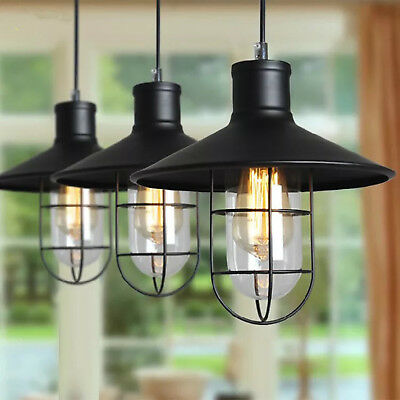 Industrial Retro Hanging Pendant Warehouse Metal Glass Cage Lamp Vintage Light