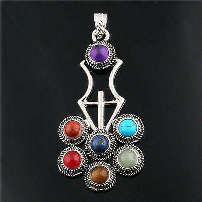 Chakra Balancing Pendants with Natural Gemstones, Chain & Cord Included