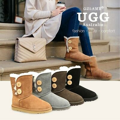 NEW Premium Wool UGG Women Classic Ankle Short/Medium 2 Buttons Boots