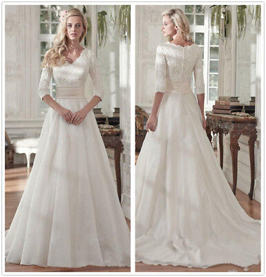 A LINE MODEST White Ivory Wedding Dress Pleats Lace Bridal Gown Size ...