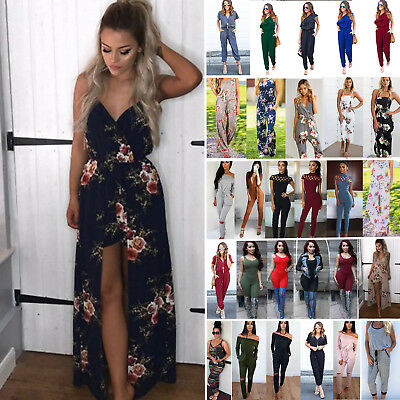 Womens Long Playsuit Jumpsuit Summer Causal Ladies Holiday Party Cocktail Romper